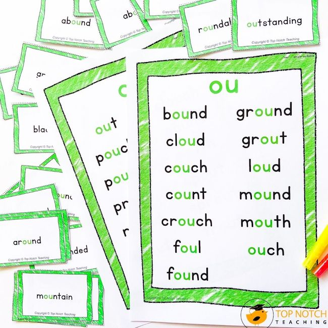 Mastering phonics skills requires repeated practice. This NO PREP phonics pack will help your students master the phoneme /ow/, ou and ow words.