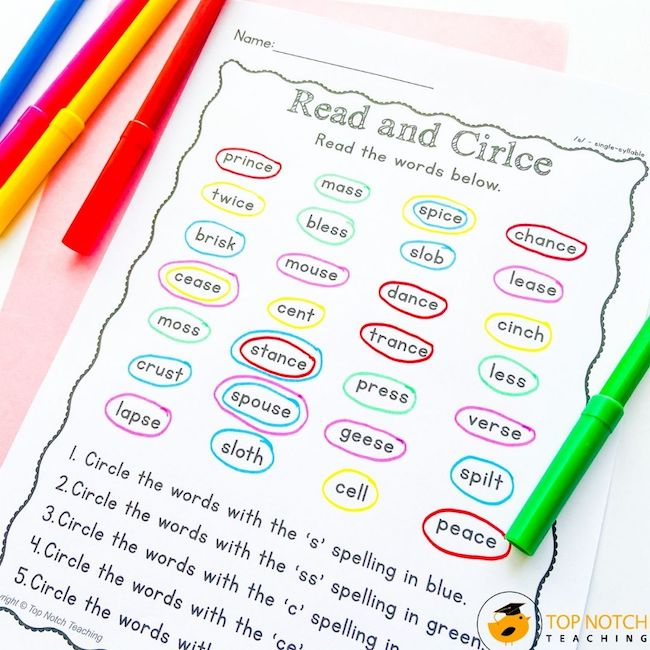 This NO PREP phonics pack will help your students master the phoneme /s/. It's filled with FUN worksheets for single syllable and multisyllabic words.