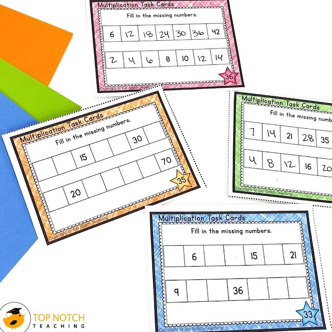 Help your students review and practice multiplication with these task cards. Students will work on recalling times tables facts and multiplying whole numbers.